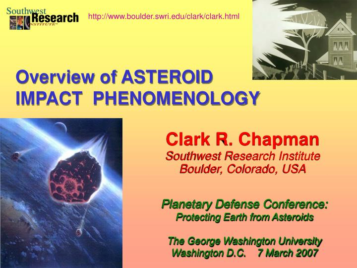 Clark r chapman southwest research institute boulder colorado usa