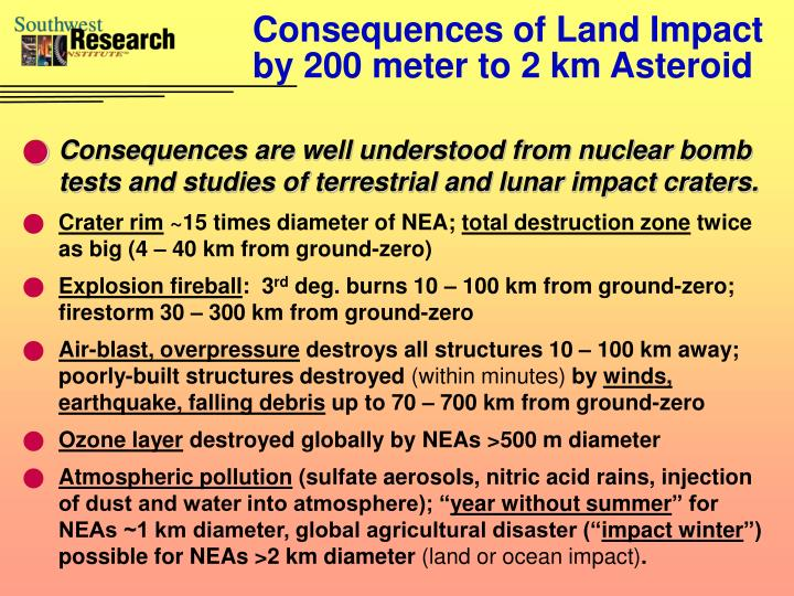 Consequences of Land Impact by 200 meter to 2 km Asteroid