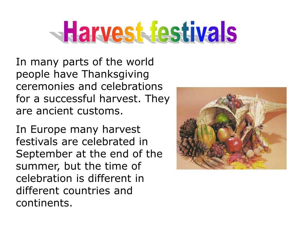Harvest festivals
