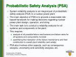 probabilistic safety analysis psa