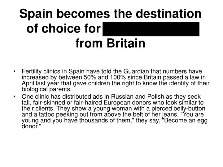 Spain becomes the destination of choice for fertility tourists from Britain