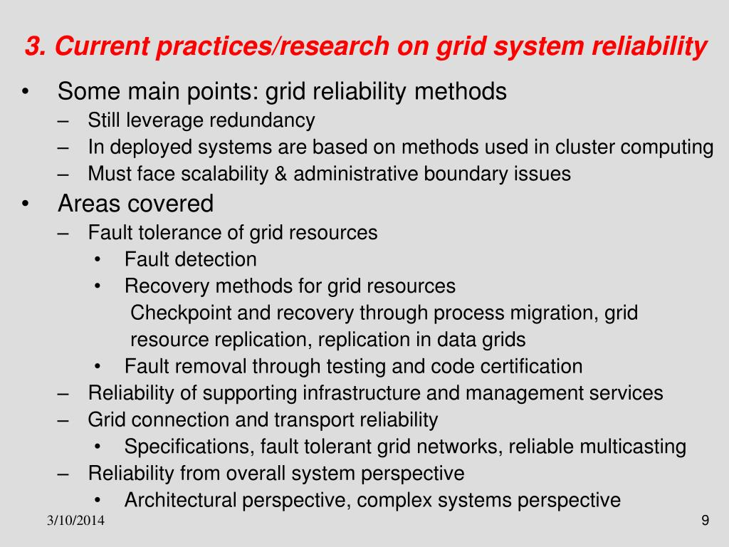 3. Current practices/research on grid system reliability
