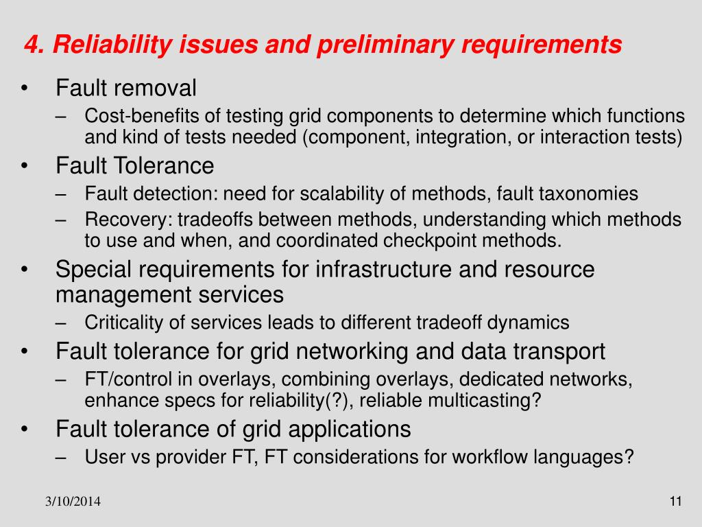 4. Reliability issues and preliminary requirements