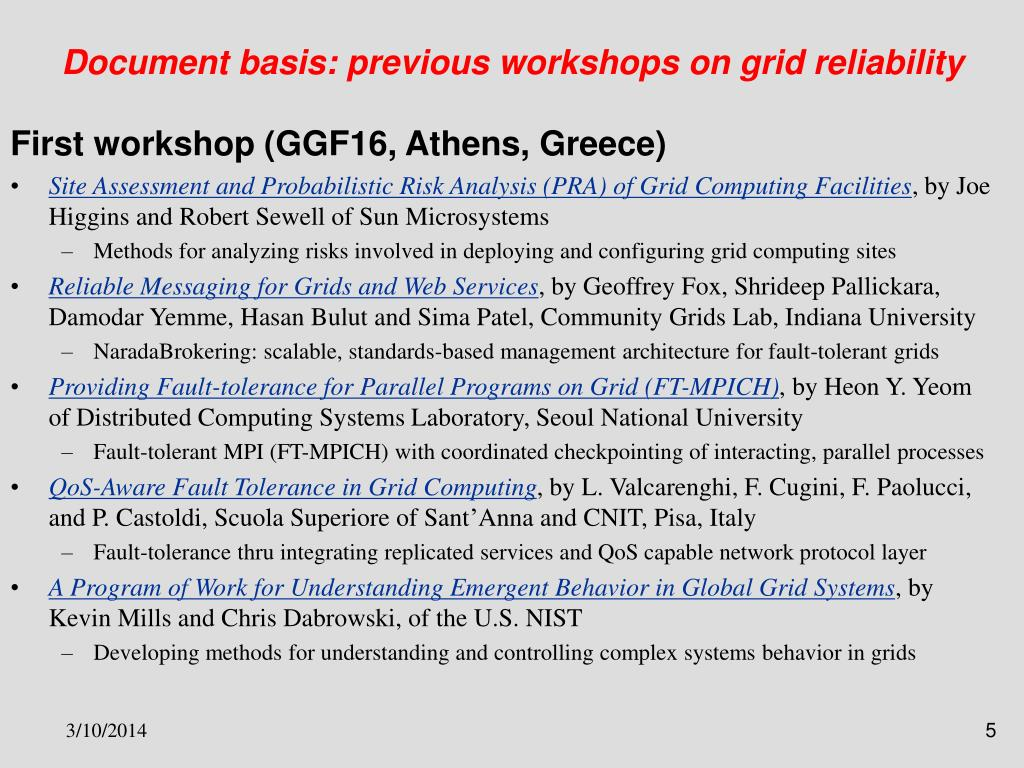 Document basis: previous workshops on grid reliability