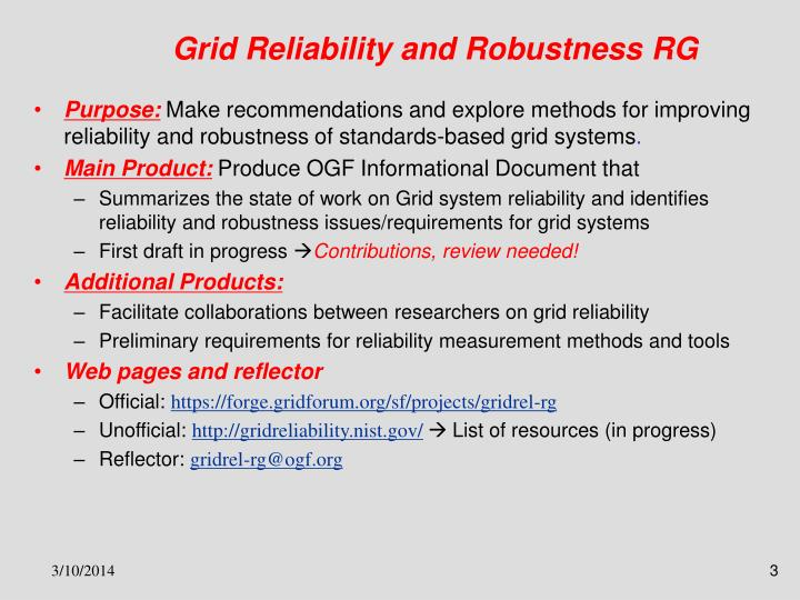 Grid reliability and robustness rg