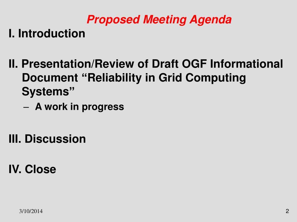 Proposed Meeting Agenda