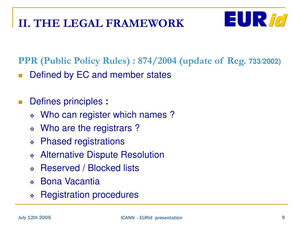II. THE LEGAL FRAMEWORK