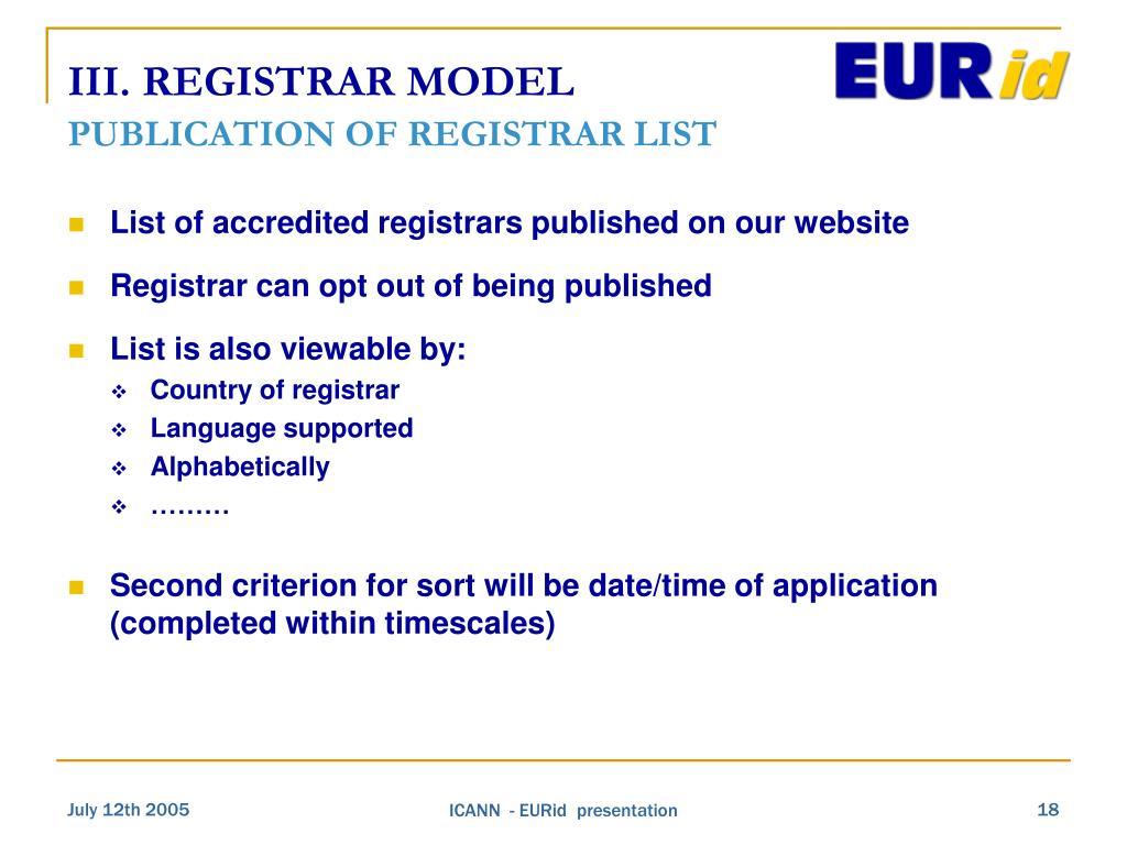 III. REGISTRAR MODEL