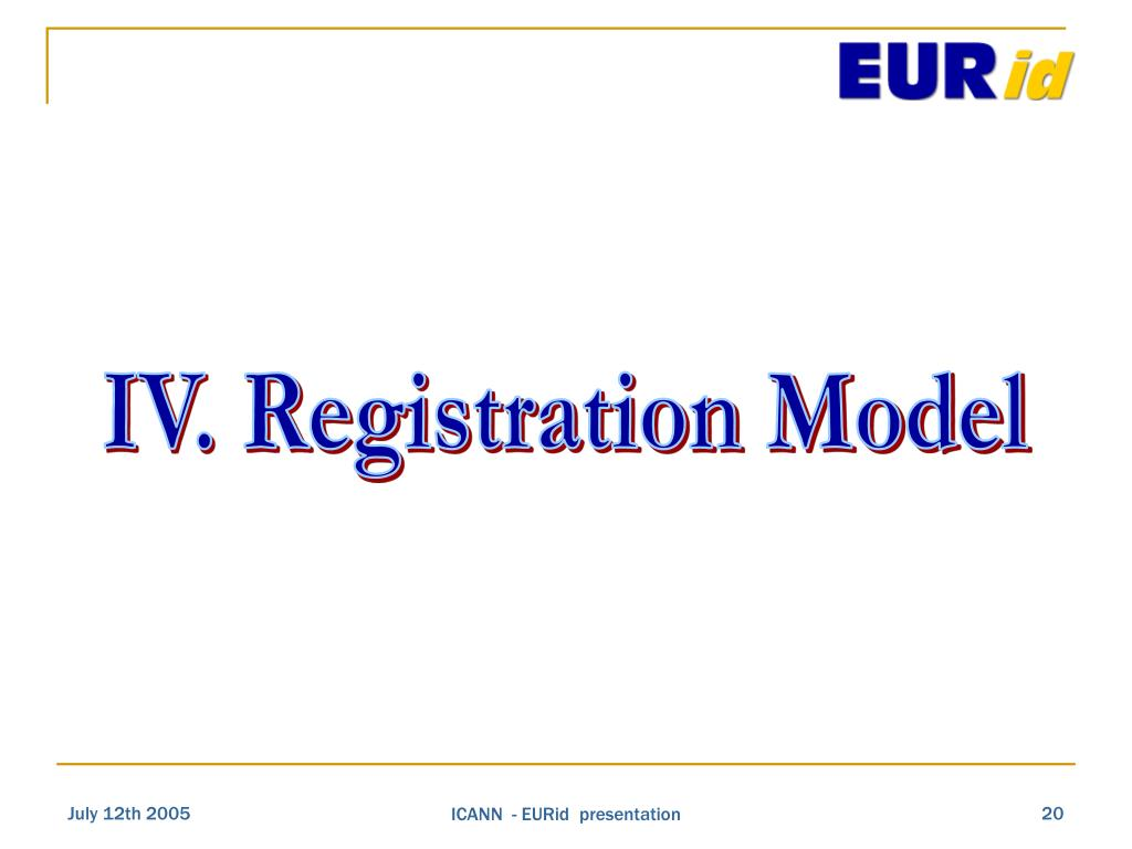 IV. Registration Model