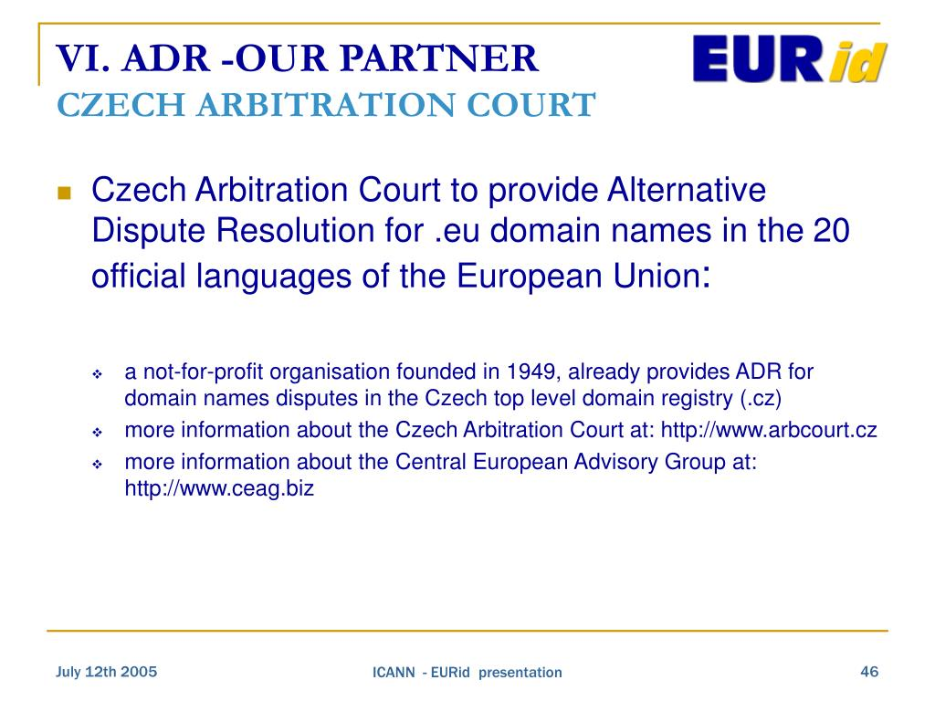 VI. ADR -OUR PARTNER