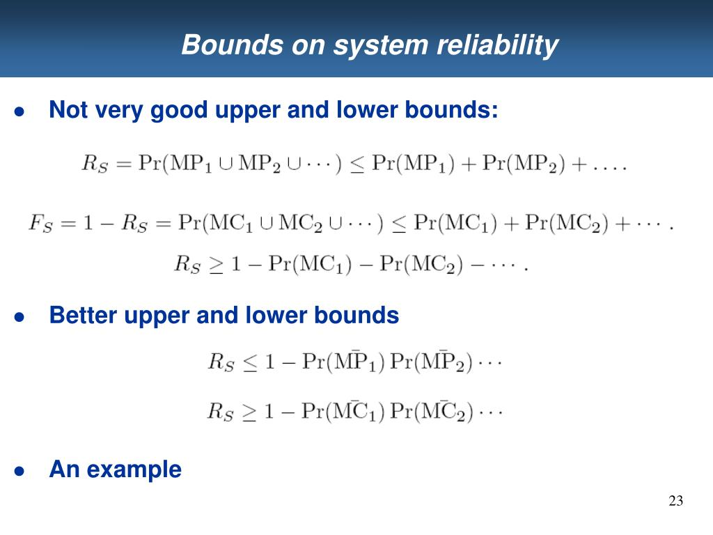 Bounds on system reliability