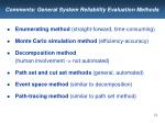 comments general system reliability evaluation methods