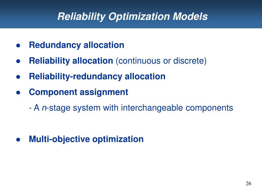 Reliability Optimization Models