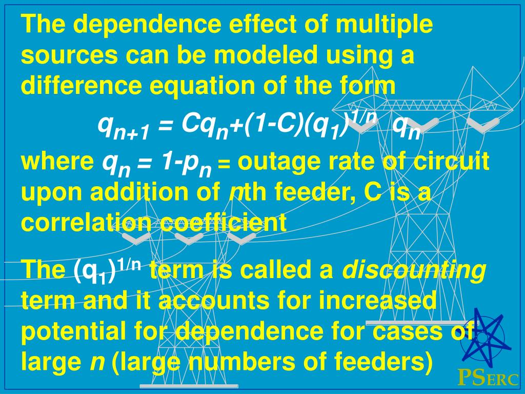 The dependence effect of multiple sources can be modeled using a difference equation of the form