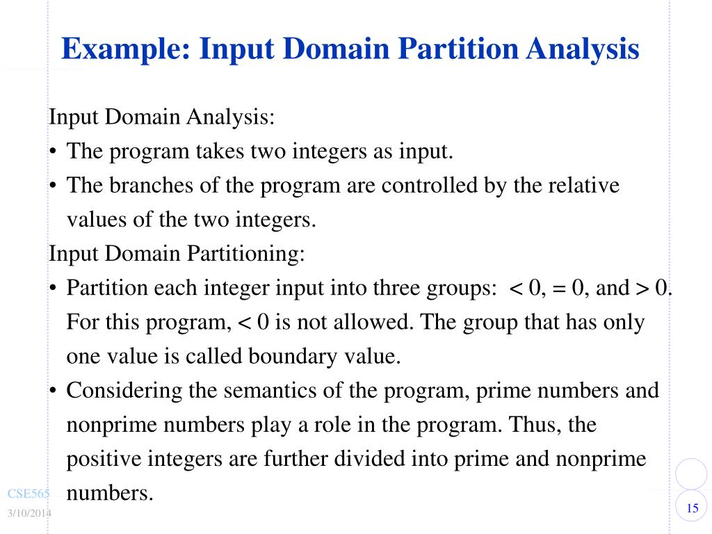 Example: Input Domain Partition Analysis