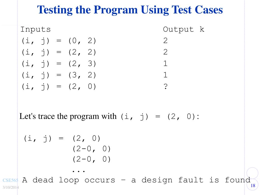 Testing the Program Using Test Cases