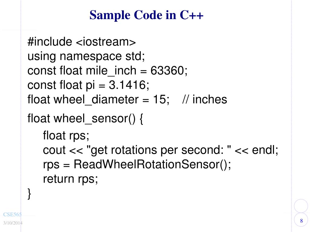 Sample Code in C++