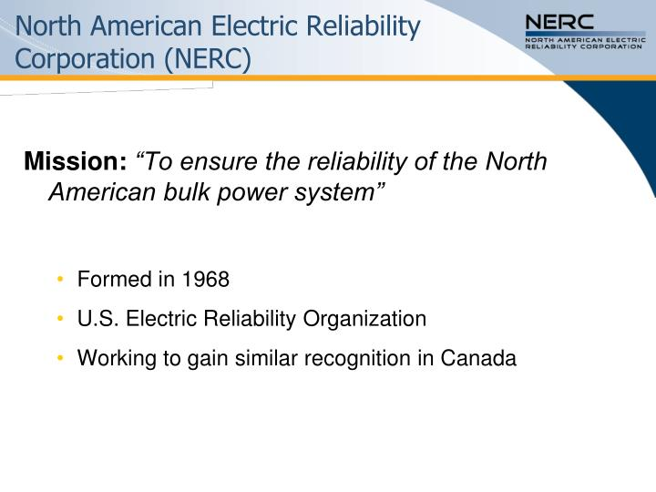 North american electric reliability corporation nerc