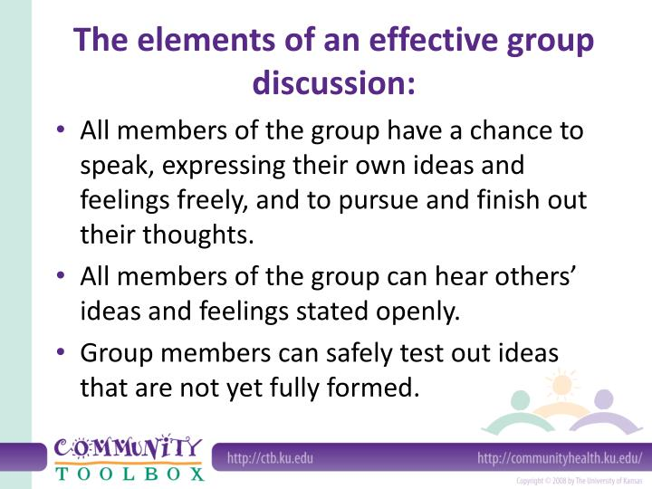 The elements of an effective group discussion