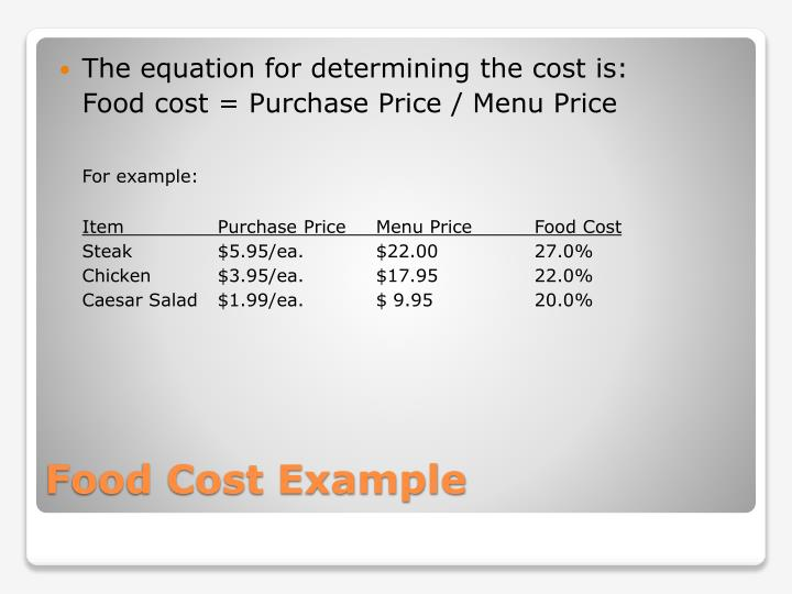 The equation for determining the cost is:
