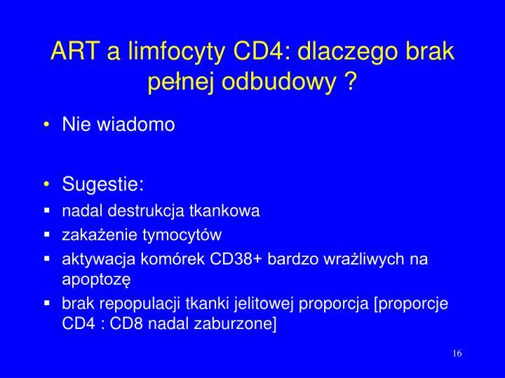 ART a limfocyty CD4: dlaczego brak pełnej odbudowy ?