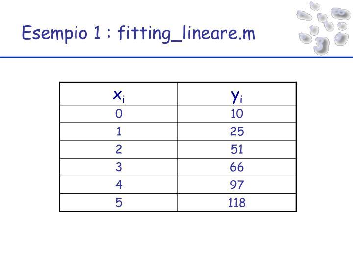 Esempio 1 : fitting_lineare.m