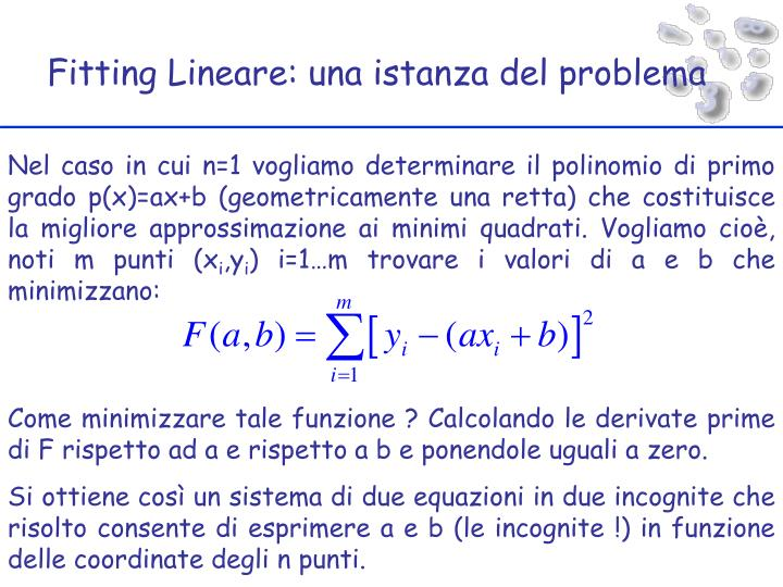 Fitting Lineare: una istanza del problema