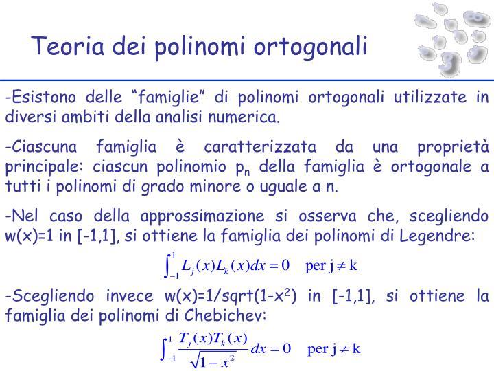 Teoria dei polinomi ortogonali