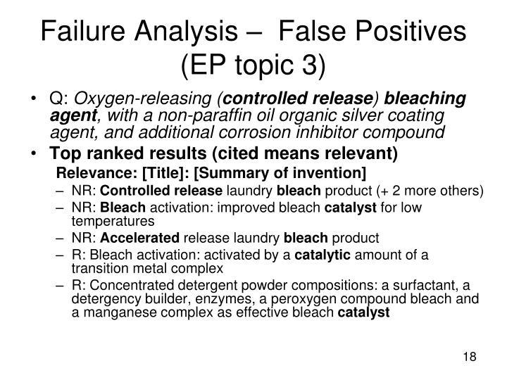 Failure Analysis –  False Positives