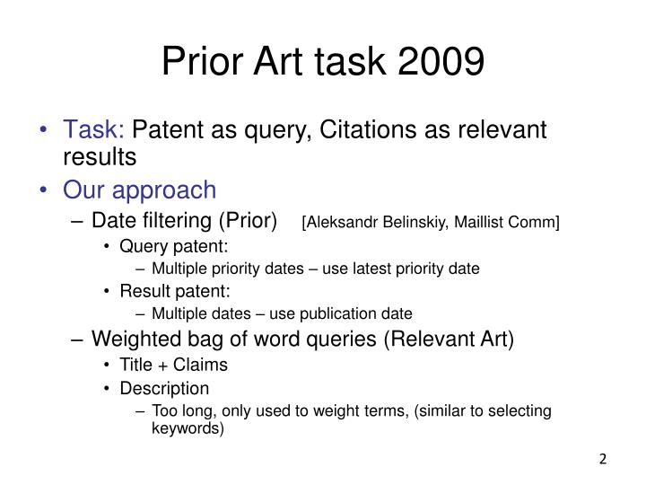 Prior Art task 2009