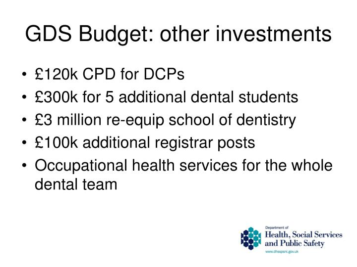 GDS Budget: other investments