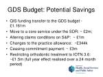 gds budget potential savings