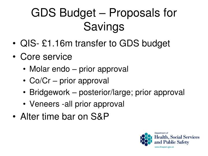 GDS Budget – Proposals for Savings