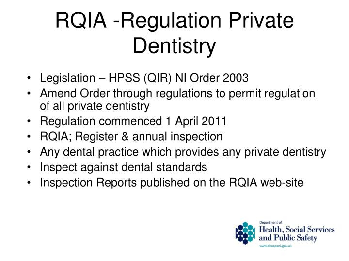 RQIA -Regulation Private Dentistry