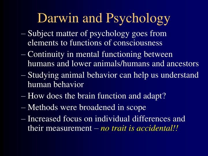 Darwin and Psychology