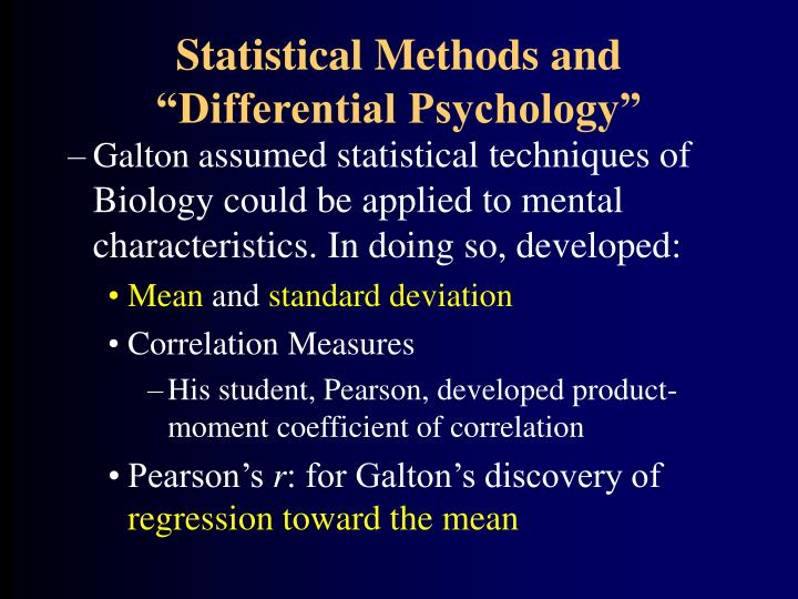 "Statistical Methods and ""Differential Psychology"""