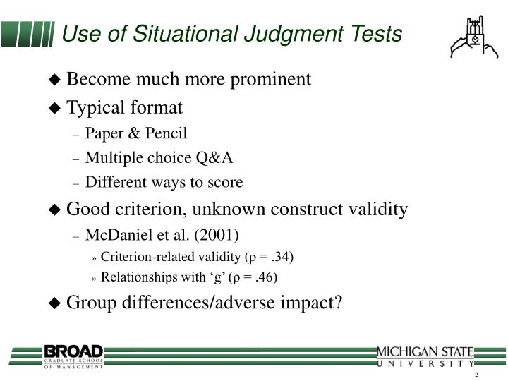 Use of situational judgment tests