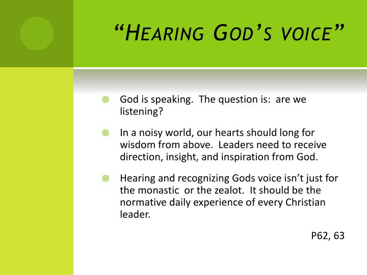 """Hearing God's voice"""