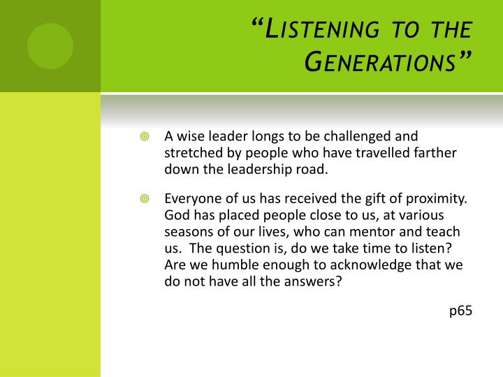 """Listening to the Generations"""