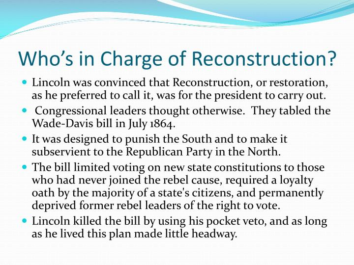 Who's in Charge of Reconstruction?
