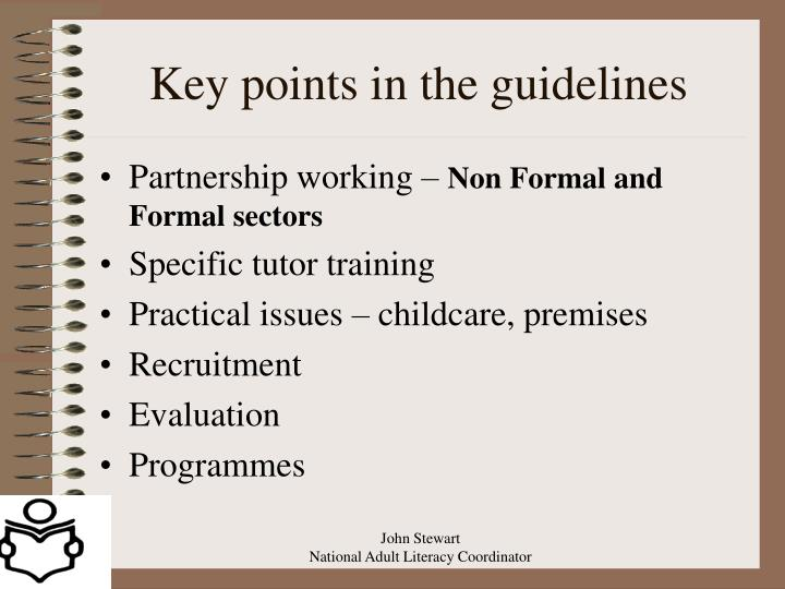 Key points in the guidelines