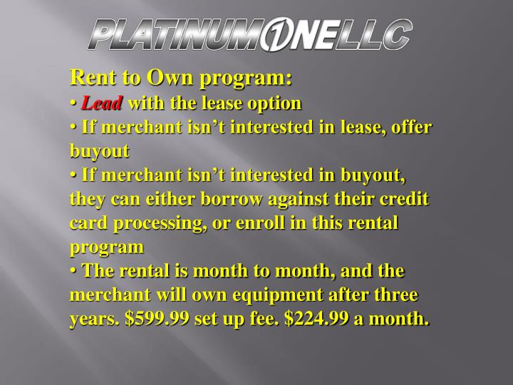 Rent to Own program: