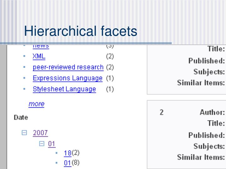 Hierarchical facets