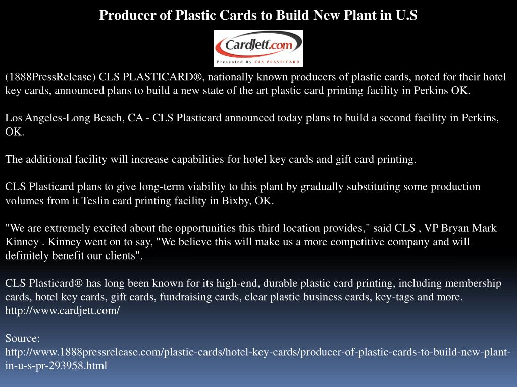 Producer of Plastic Cards to Build New Plant in U.S