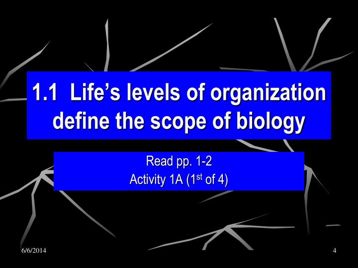 1.1  Life's levels of organization define the scope of biology