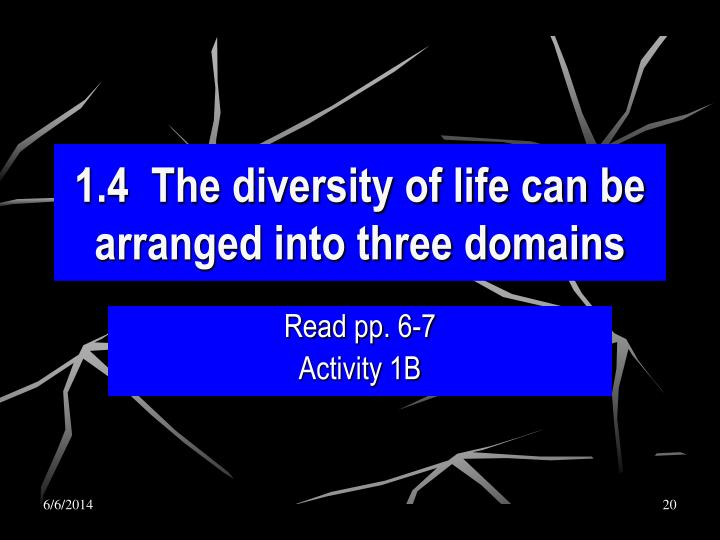 1.4  The diversity of life can be arranged into three domains