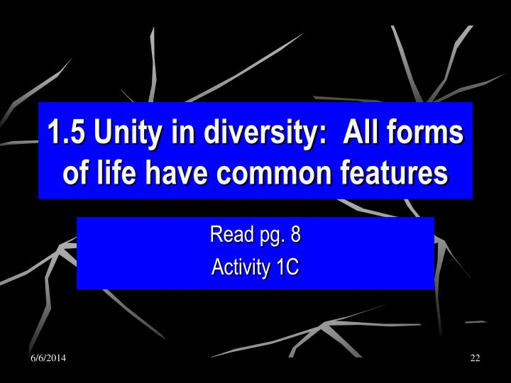 1.5 Unity in diversity:  All forms of life have common features