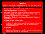 hypothesis athletes have better cardiovascular fitness than nonathletes