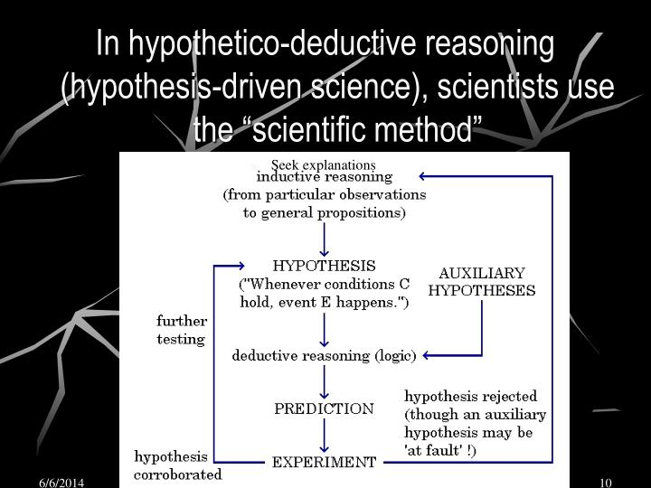 "In hypothetico-deductive reasoning (hypothesis-driven science), scientists use the ""scientific method"""