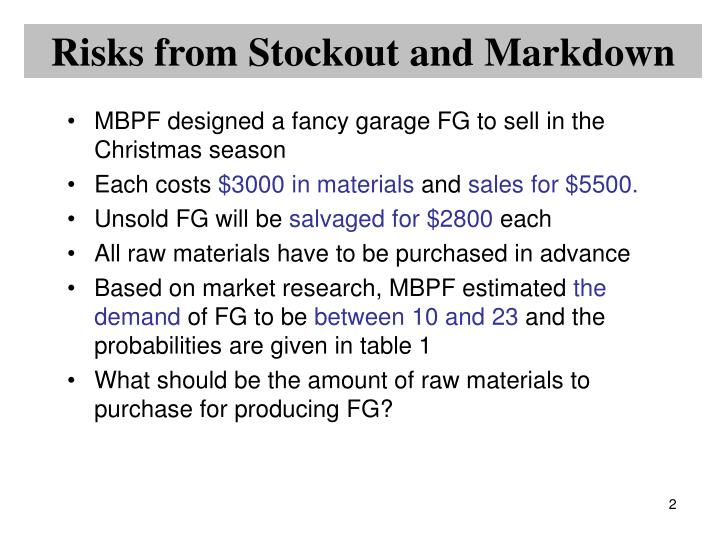 Risks from Stockout and Markdown